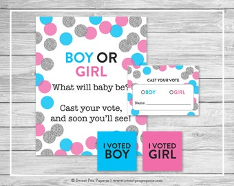 pink and blue gender reveal voting game printable gender reveal vote cards gender reveal - Free Printable Gender Reveal Party Invitations