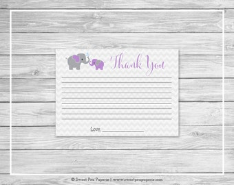 Elephant Baby Shower Thank You Cards - Printable Baby Shower Thank You Cards - Purple and Gray Elephant Baby Shower - Thank You Cards- SP116