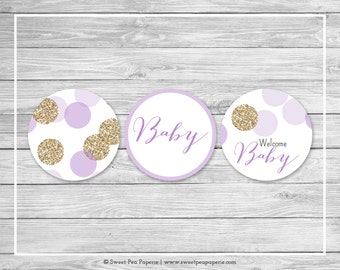 Purple and Gold Baby Shower Cupcake Toppers - Printable Baby Shower Cupcake Toppers - Purple and Gold Glitter Baby Shower - Toppers - SP109