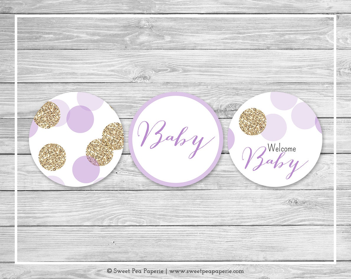 purple and gold baby shower cupcake toppers printable baby