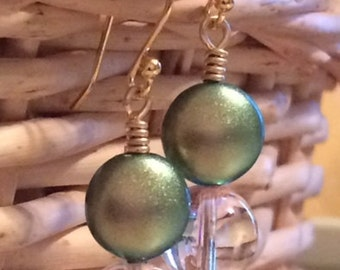 Green and Gold Pierced Earrings