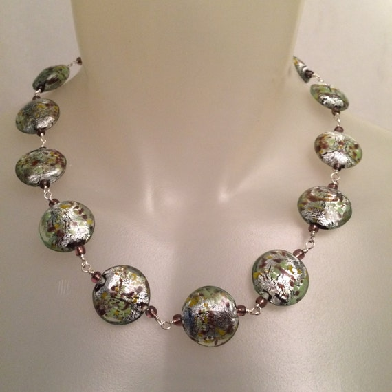 Silver foil glass beads necklace