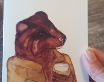 Bear and Coffee Greeting Card