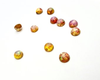 24 Pieces Glass Harlequin Fire Opal Cabochons, Flat Back, Vintage, 7mm Round