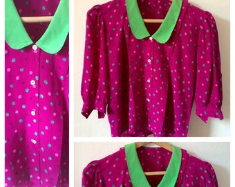 Raspberry and Lime Polka Dot Peter Pan collar Blouse