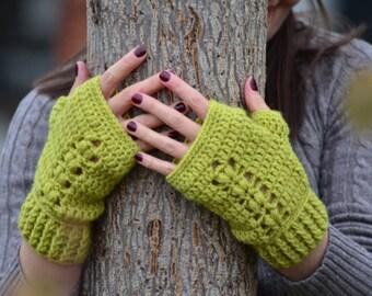 Fingerless gloves, women crochet gloves, mustard mittens, texting gloves, wrist warmers, wool fingerless mittens