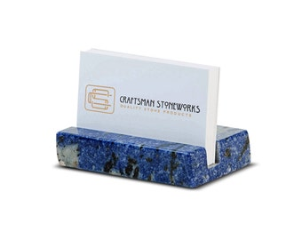 Business Card Holder - Blue Bahia Granite - Office Desk Home, Desk Accessory, Recycled Granite