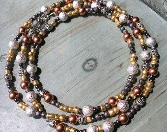 Mixed metals long necklace