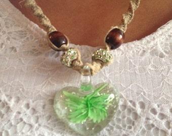 Handmade hemp necklace with glass heart pendant