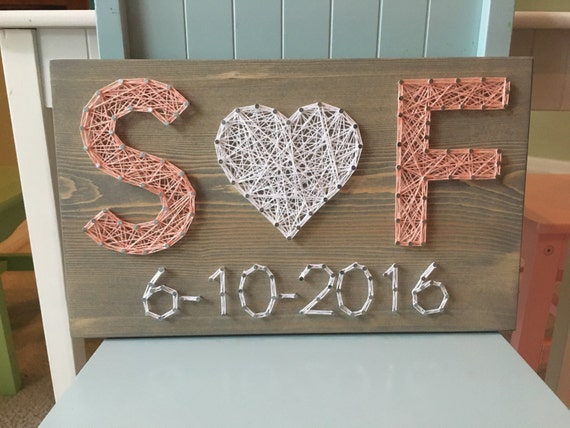 Wedding Art Gifts: CUSTOM Wedding/Anniversary String Art Sign Date Art Wall