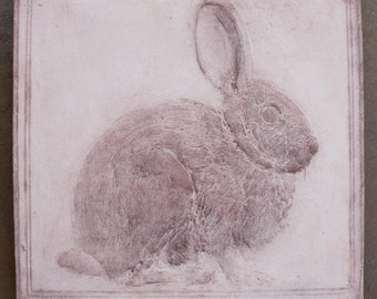Rabbit Tile, Cast Cement, Hanging Wall Plaque