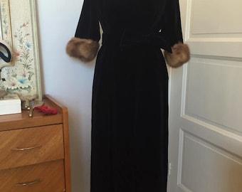 50's velvet fur dress