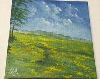 Miniature #5 - Open Field of Yellow Flowers