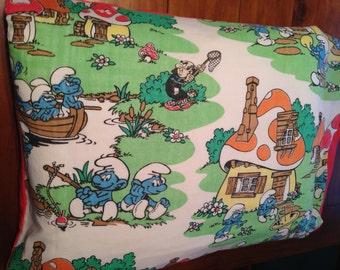 SMURF Standard Pillowcase, Re-purposed Vintage Sheet