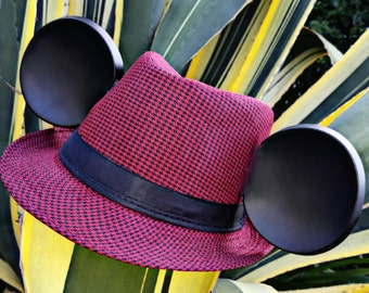 Fall Mickey Ears. Red and Black Mickey Ears. Hounds-tooth Mickey. Disney Chic
