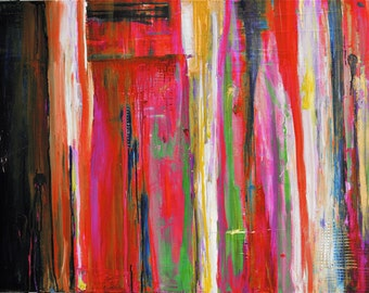 """24"""" x 36"""" Happy in Red Acrylic Abstract"""