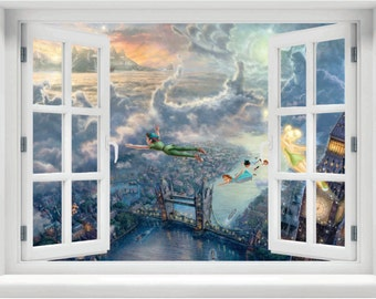 Window With A View Disney Peter Pan, The Darlings And Tinkerbell Flying  Over London Wall Part 40