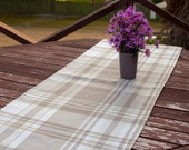 Plaid Table Runner, Handmade Dining Supplies, Rustic Country Style, White Beige Table cloth,Home textiles