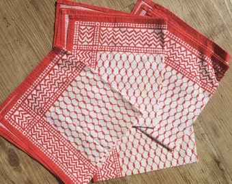 4 vintage red and white fabric napkins
