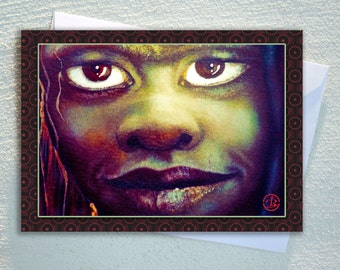 "women GREETING card,aboriginal women,Australian indigenous face .ecofriendly,sustainable card,4.13"" x 5.82"""