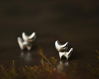 Little Cat Earring Studs, S925 Silver Studs,Matt Silver Studs / CE0002