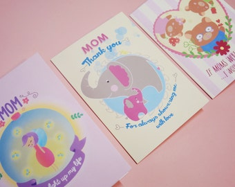 Mother's days greeting cards pack of 3 + postcard