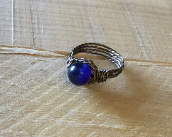 Antique brass blue Cats Eye wire wrapped ring