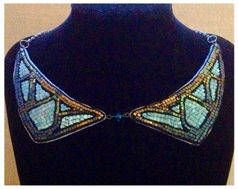 Blue and Gold beaded collar necklace