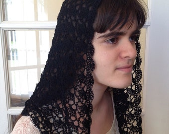 Fan Shell Stitch Crocheted Catholic Chapel Veil in Black with Scalloped Edge