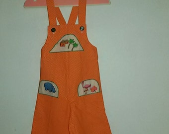Orange Dungarees with white polka dots / French Vintage 60's 70's / 18 months nine former /Stock