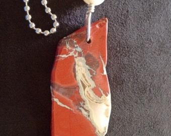 Beautiful Natural Red River Jasper and Moonstone Fan Pull, Jasper 82x29x7mm, Lamp Chain Pull, Decorative Fan Pull
