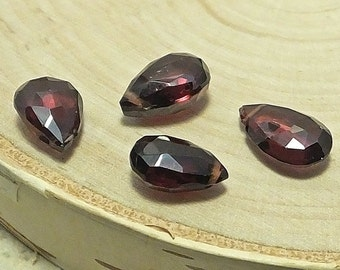 Four Petite Garnet Brioletts, Faceted, Matched Pairs