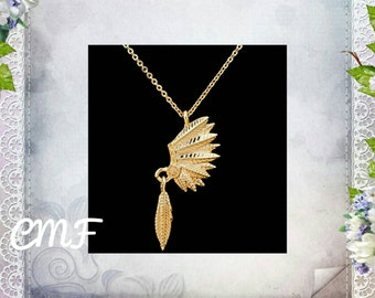 Indian Headress Necklace Gold Necklace Indian Headress Pendant Indian  necklace Native American Jewelry