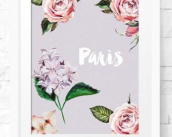 Paris Print Travel Poster Paris Decor Paris Printable Paris Prop Printable Quote, Print Home Decor, Instant download Wall Print