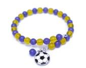 Soccer Charm Bracelet - Customized Charm Bracelet - Soccer Mom Gifts - Beaded Charm Bracelets - Soccer Jewelry - Custom Bracelet Personalize
