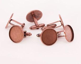 10x Antique Copper Cufflink Setting Blanks Fits 18mm Cabochon