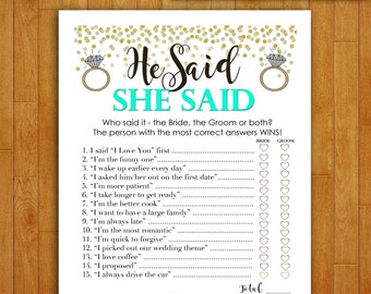 Bridal Shower Game Download - He Said She Said - MINT GREEN & GOLD - Instant Printable Digital Download - diy bachelorette party Printables