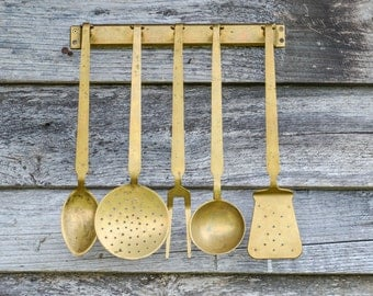 Vintage French Brass Utensil Set. Five French Farmhouse Solid Brass Kitchen  Serving Set With Matching
