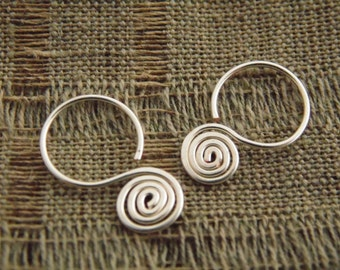 small hoop earrings, sterling silver, spiral, 5% donation