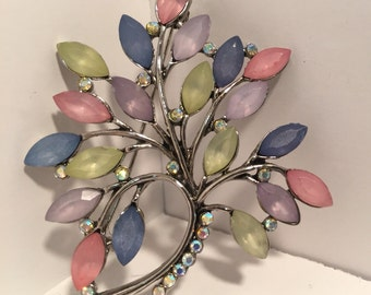 Vintage silver tone faceted rhinestone tree brooch