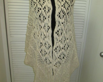 Vintage beige homemade long crochet shawl without fringe Warm, snuggly and boho, hippie, rockabilly chic