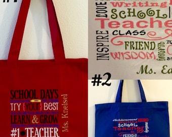 Personalized Teacher Bags, School Bags, Teacher Bag, Teacher Appreciation, Christmas, End Of Year