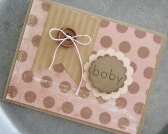 Rustic Baby Card, Homemade Its a Girl Baby Card, Baby Girl Congratulations, New Baby, New Addition, New Parents, New Arrival, Baby Girl