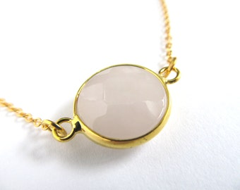 Rose Quartz Necklace - Rose Quartz Bezel Pendant - Gold Chain - Pink Gemstone Faceted Pendant - Layering Necklace - Small Rose Quartz Circle
