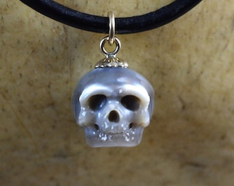 Grey Carved Pearl Skull Necklace with 14K Gold Bail on Leather Cord - Skull Jewelry - Halloween Necklace - Halloween Gift - Skull Pendant