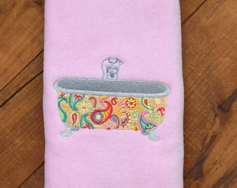 Whimsical Bathtub - Fingertip Towel with Embroidered Paisley Bathtub