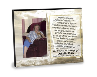 As I Sit In Heaven - MEMORIAL/REMEMBRANCE TRIBUTE, 8x10 Photo Frame, Lost loved one, sympathy