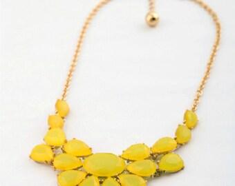 Elegant Yellow Gem Jewels Gold Chain Alloy Metal Statement Bib Necklace