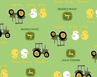 ON SALE!! John Deere - Duck Duck Tractor Fabric - Green - sold by the 1/2 yard