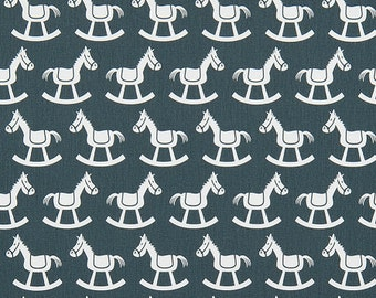 ON SALE!! Rocking Horse Fabric - Gunmetal Twill - Sold by the 1/2 Yard